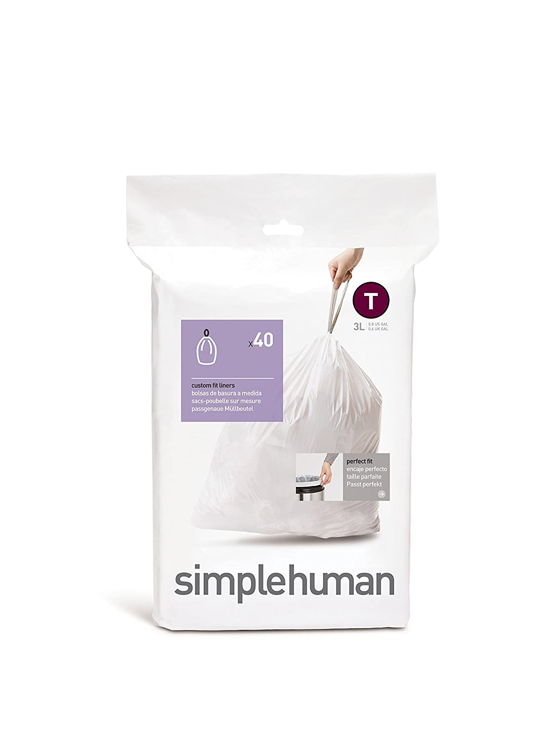 simplehuman Custom Fit Trash Can Liner T, 3 L / 0.80 Gal, 40-Count Box