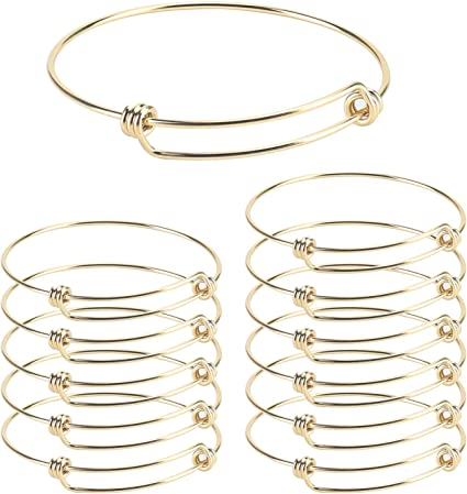 Wholesale 12 PCS Adjustable Expandable Wire Blank Stainless Steel Bangle Bracelet for Jewelry Making 2.6 inches