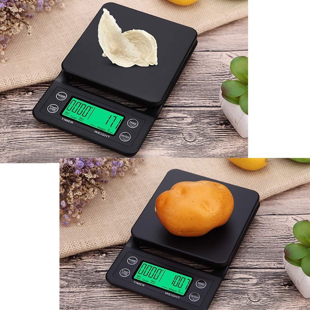 Aingol Balanza electrónica multifunción Escala de Tiempo de café de Cocina precisa 0.1 g balanza de Alimentos medicinales 5 kg pequeña Escala de Hornear ...