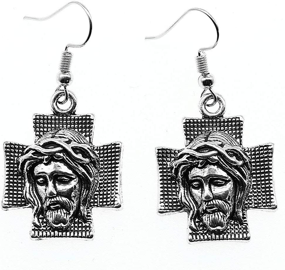 Taliyah 1 Pair Jesus On The Cross Drop Earrings for Girls with Earring Cap