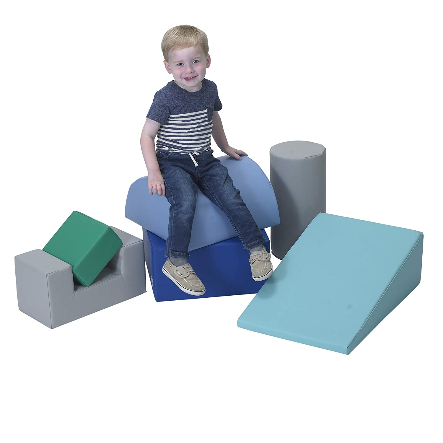 Indoor Play Equipment for Homeschool//Classroom//Playroom Childrens Factory Climb /& Play 6 Piece Set for Toddlers Woodland Colors Baby Climbing Toys