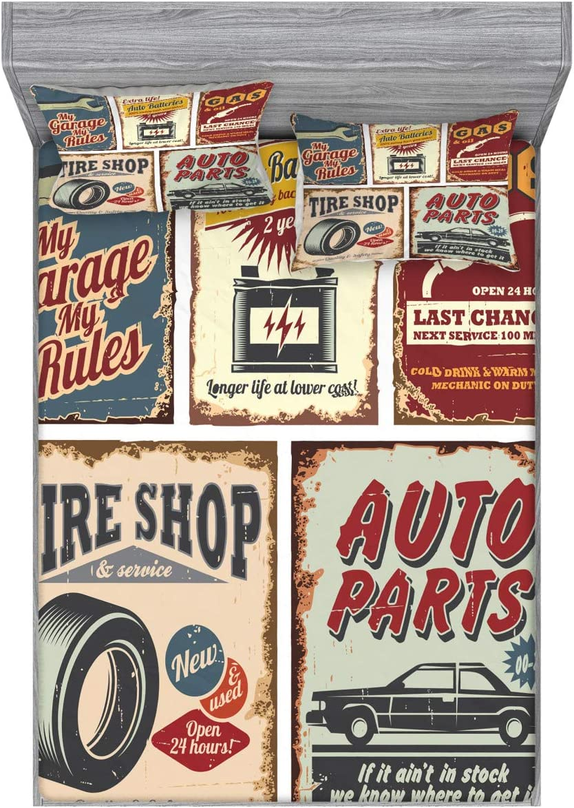Lunarable 1950s Fitted Sheet & Pillow Sham Set, Vintage Car Signs Automobile Advertising Repair Vehicle Garage Classics Servicing, Decorative Printed 3 Piece Bedding Decor Set, Full, Burgundy