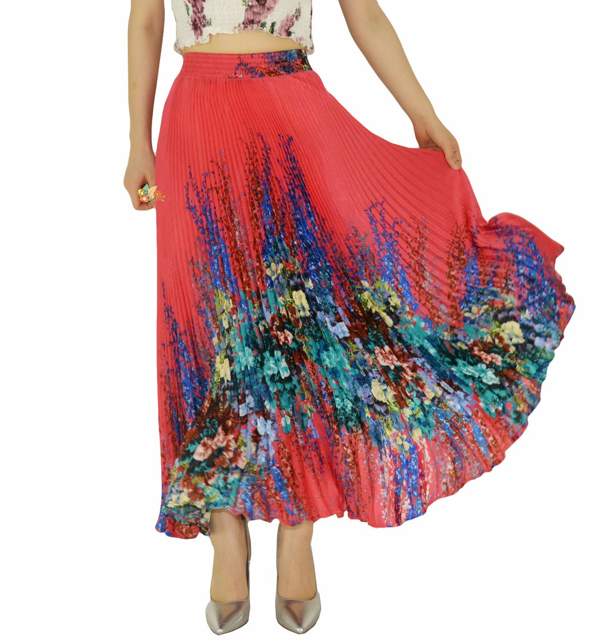 YSJERA Womens Long Maxi Skirt - 35.4'' Floral Sunray Pleated Chiffon Bohemian Chic Full Skirts (One Size, Red)
