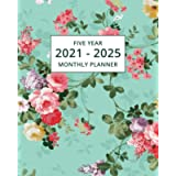 2021-2025 Five Year Monthly Planner: 60 Month Calendar and Organizer   Floral Edition
