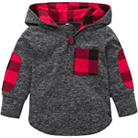 6bfac4a98ffe Toddler Baby Girls Boys Plaid Hooded Sweatshirt with Pocket Pullover Tops  Casual Warm Coat