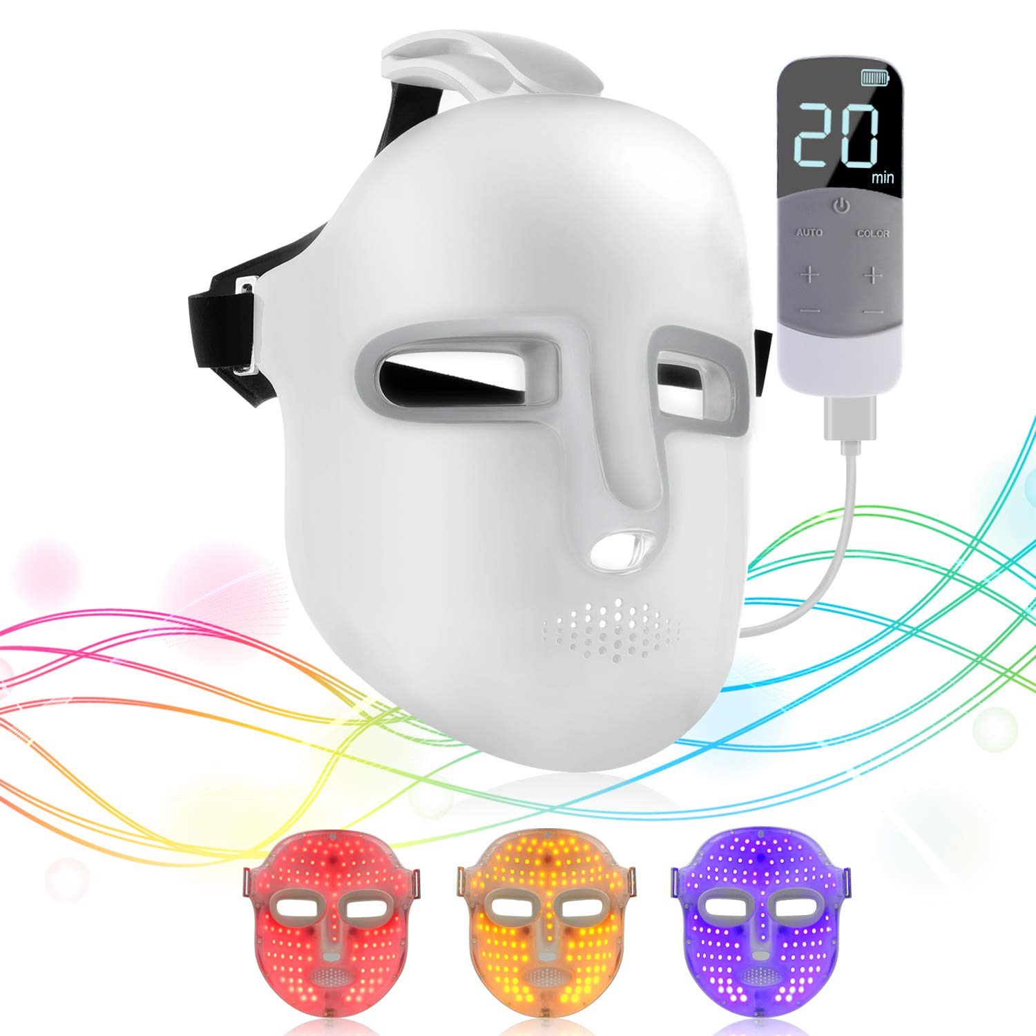 NEWKEY Led Light Therapy Facial Mask - Uses Newest Red/Blue/Yellow Light Therapy For Skin Rejuvenation|Whitening|Anti Aging|Smoothening Wrinkles|Weakening Scarring|Lighter Weight and More Comfortable