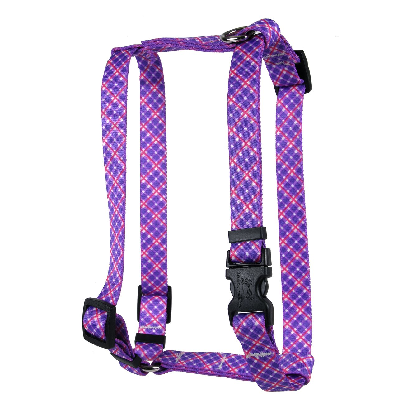 Yellow Dog Design Purple Pink Diagonal Plaid Roman H Dog Harness, X-Large-1'' Wide fits Chest of 28 to 36''