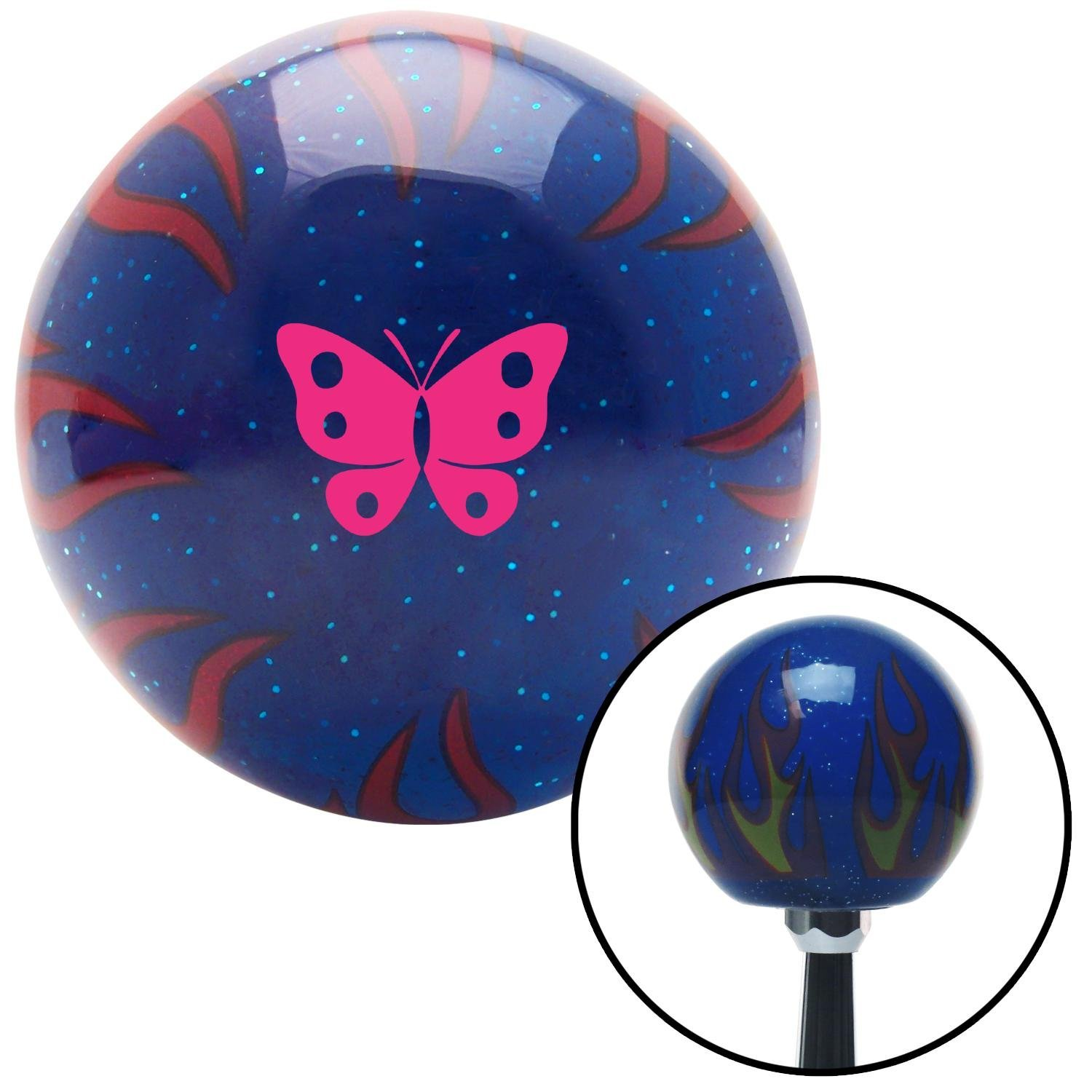 Pink Classic Butterfly Blue Flame Metal Flake with M16 x 1.5 Insert American Shifter 297578 Shift Knob