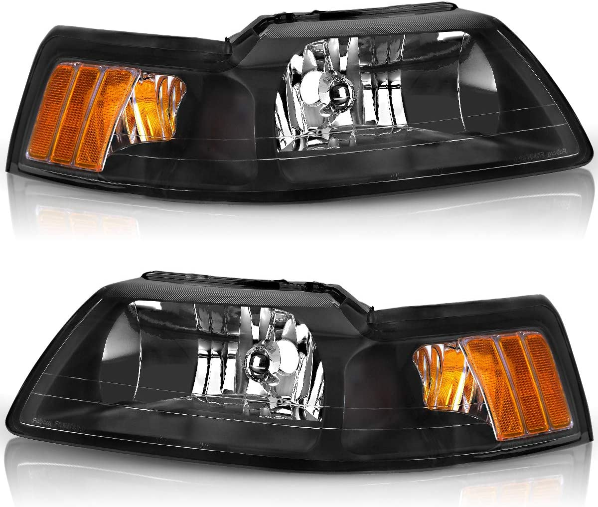 amazon com compatible with 1999 2004 ford mustang headlights oedro black housing with amber reflector headlight lamp set left right 2 yr warranty automotive compatible with 1999 2004 ford mustang headlights oedro black housing with amber reflector headlight lamp set left right 2 yr warranty