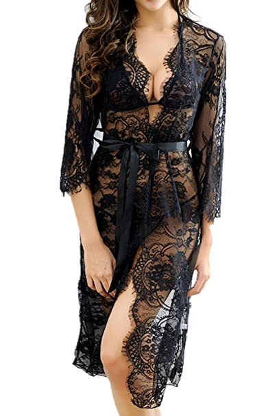 96b6f7caaa5d Amazon.com  XLtion Sexy Lace Long Robe Black Lingerie Set for Women   Clothing