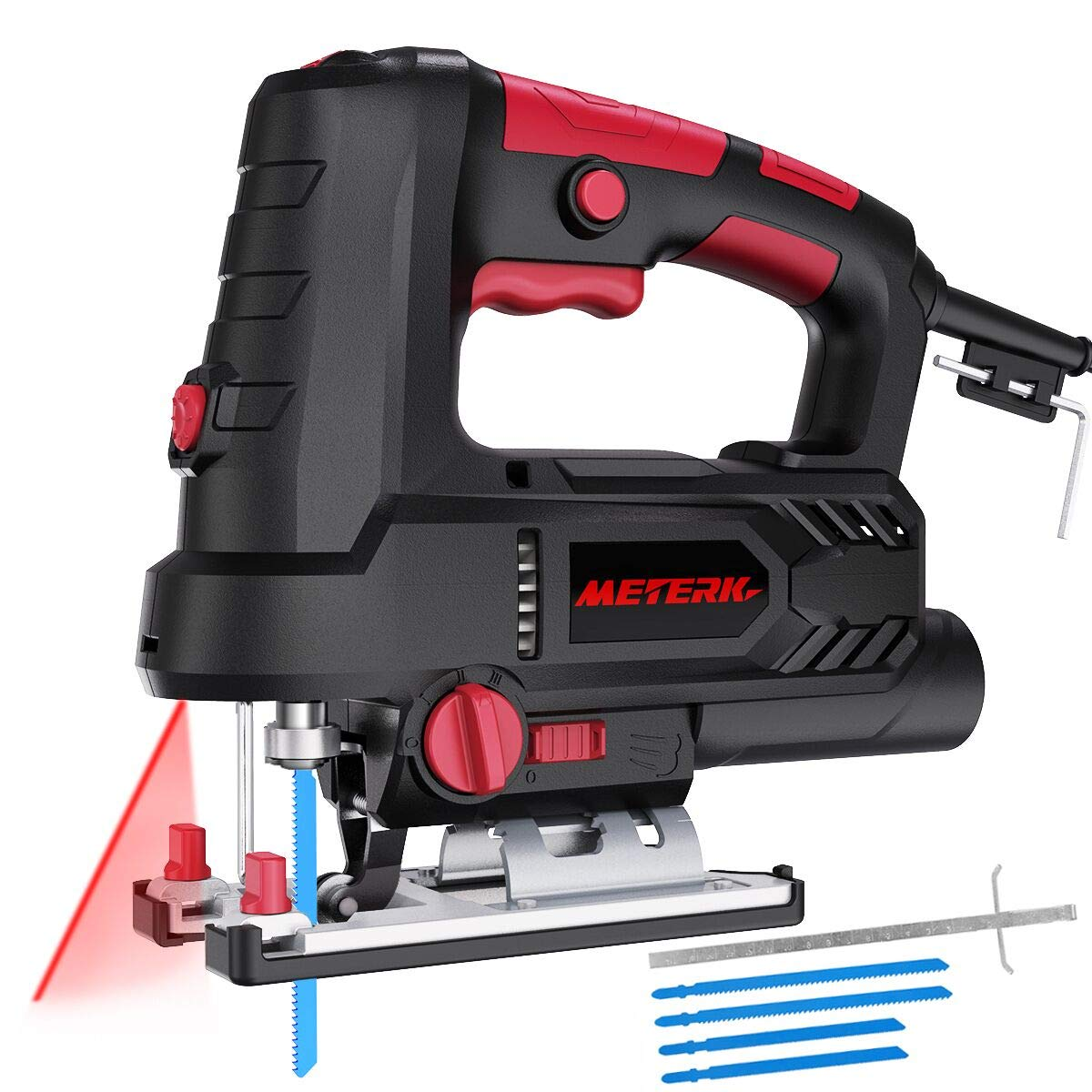 Jigsaw, METERK Upgraded 800W 6.7 Amp 3000 SPM Jig Saw with Laser Guide LED, 6 Variable Speed, 4PCS T-Shank Saw Blades, Scale Ruler, 78.74 Inches Cord, 45 Bevel Cutting Angle