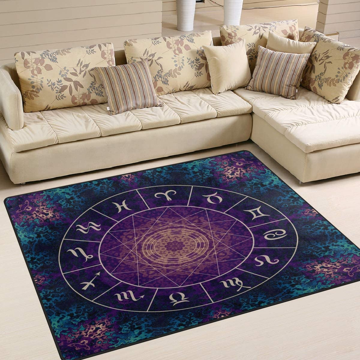 ALAZA Zodiac Sign Constellation Universe Star Area Rug Rug
