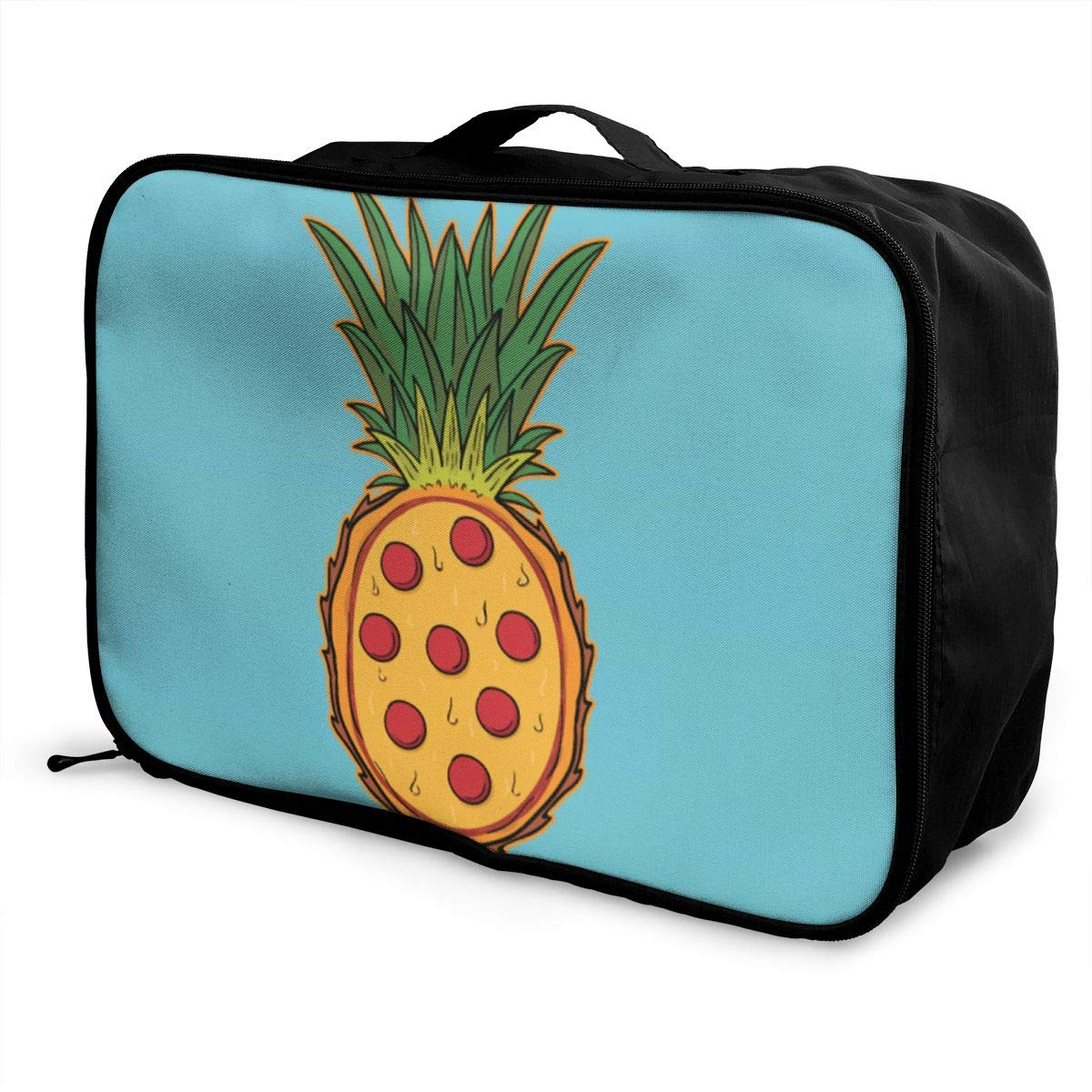 Funny Pineapple Pizza Travel Lightweight Storage Carry Luggage Duffle Tote Bag
