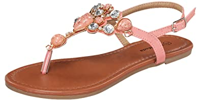 28073d5b7b6e Top Moda Berry-9 Precious Gem Stone And Crystal Embellished Flat Sandal -  White PU