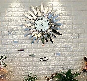 Sunjun Wanduhr Kreativ Trend Wohnzimmer Wanduhr Metall Glas Kreative Kunst  Uhren Einfache Mode Wanduhr Moderne