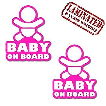 2 x Adesivi Vinile Stickers Autoadesivi Beb/è A Bordo Baby On Board Bambino Per Auto Moto Finestr/ìno Porta Tuning B 166