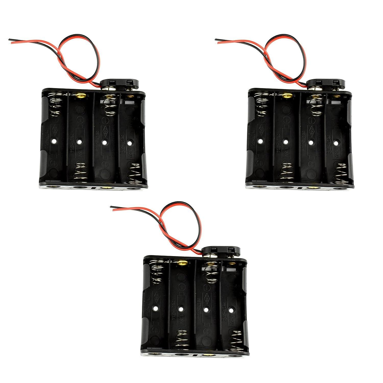 4 x 1.5V (6V) AA Battery Holder 9V I Type Snap Connector Plastic Housing (3+3) Pcs