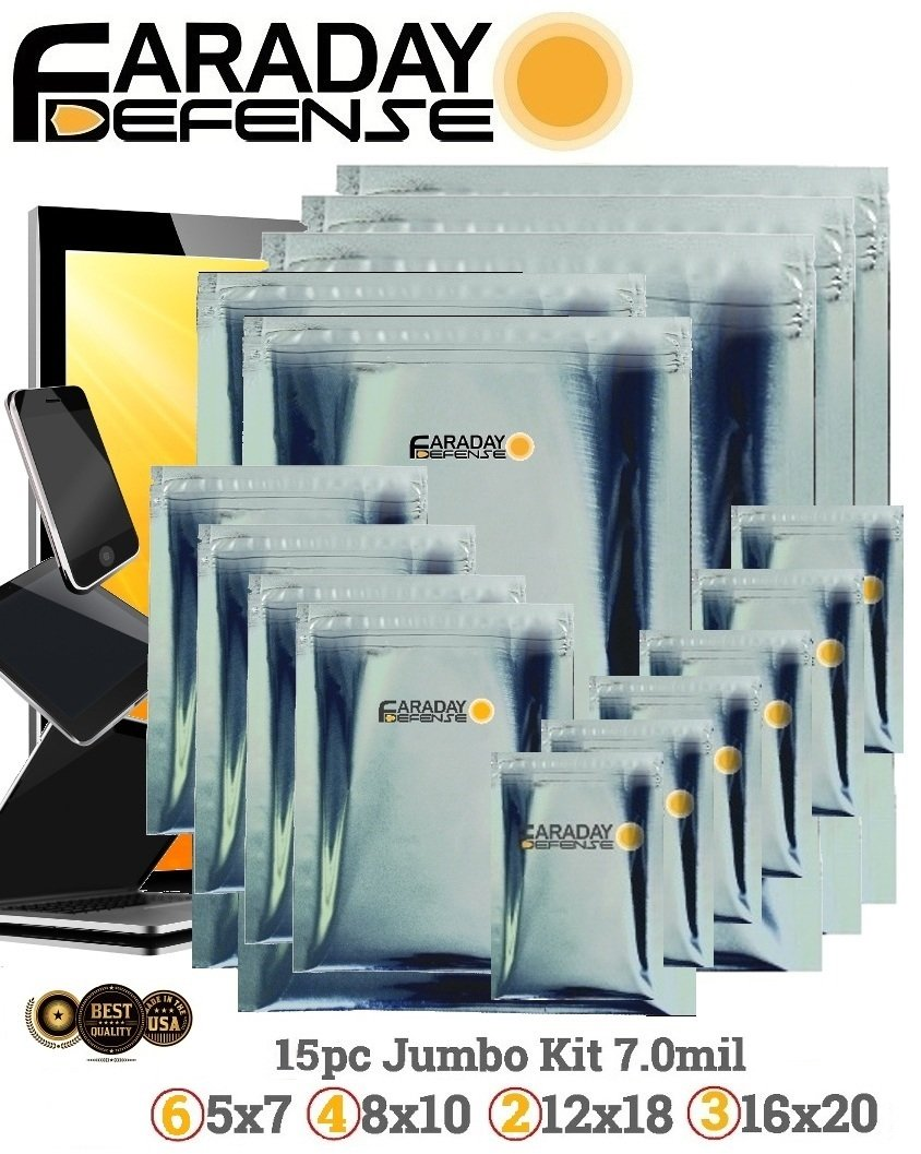 Amazon.com: Faraday Cage Military Grade Uber THICK EMP ESD Solar Flare Bags  15pc 2-Metal Layer, FULLY-SPECCED, Heavy Duty Electro-shielding Kit X-Large  ...