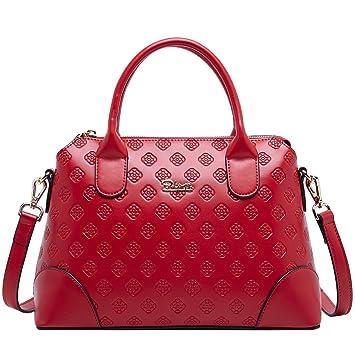 bb9ebb4eff054 BOYATU Echtes Leder Handtasche für Frauen Business Büro Damen Umhängetasche Top  Griff Satchel Tote
