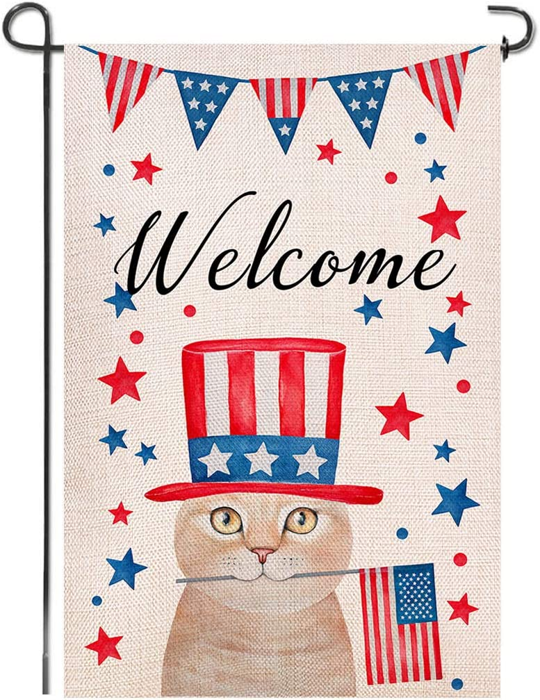 Shmbada Welcome American 4th of July Burlap Garden Flag, Double Sided Home Outdoor Patriotic Cute Cat Decorative Small Flags for Yard Lawn Patio Farmhouse, 12.5 x 18.5 inch