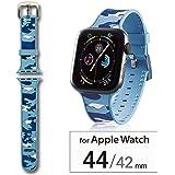 エレコム Apple Watch バンド 44mm/42mm シリコン 迷彩   カモフラ(ブルー) AW-44BDSCCMB