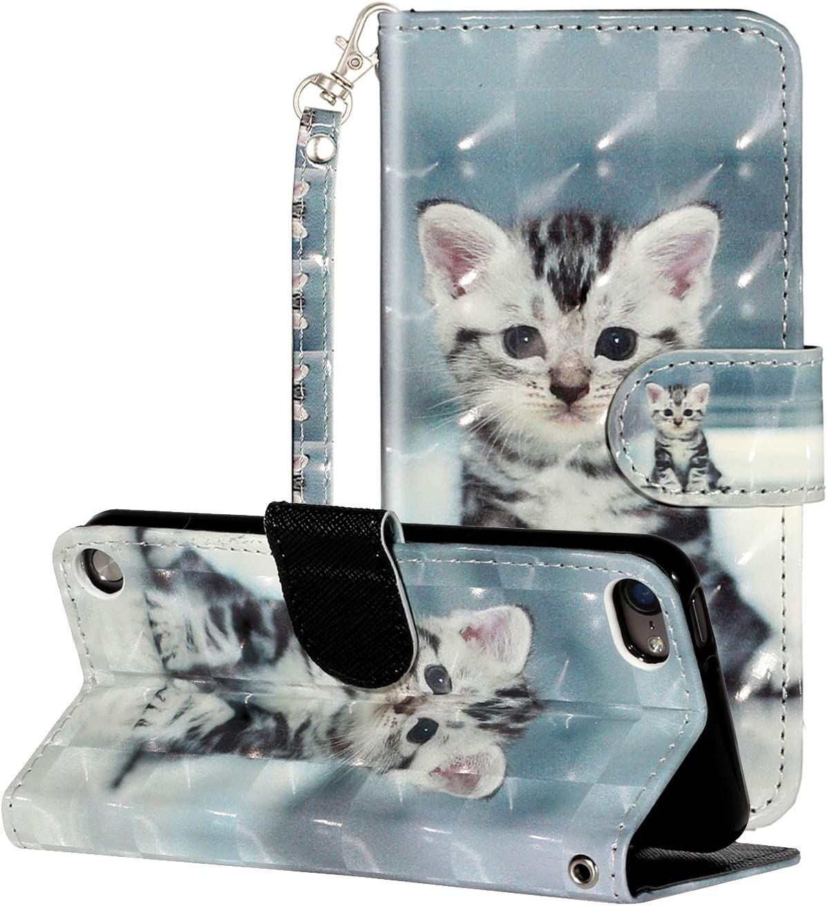 iPod Touch 7 Case, iPod 6/5 Case, FAYYING PU Leather Wallet Case Kickstand Shockproof Protective Wrist Strap Flip Magnetic Cover with Card Holder for Apple iPod Touch 5/6 /7th Generation (Cat)