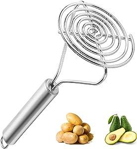 Guoofu Stainless Steel Potato Masher Heavy Duty, Round Potato Masher Hand, Good Grip Potato Smasher Food Masher Utensil for Mashed Avocado Bean Pumpkin Vegetables Fruits Egg Salad Banana Bread