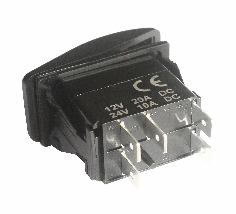 Bandc 12/V//24/V Front Diff Lock interruttore on-off SPST 5/pin LED rosso per marine grade auto RV impermeabile IP66