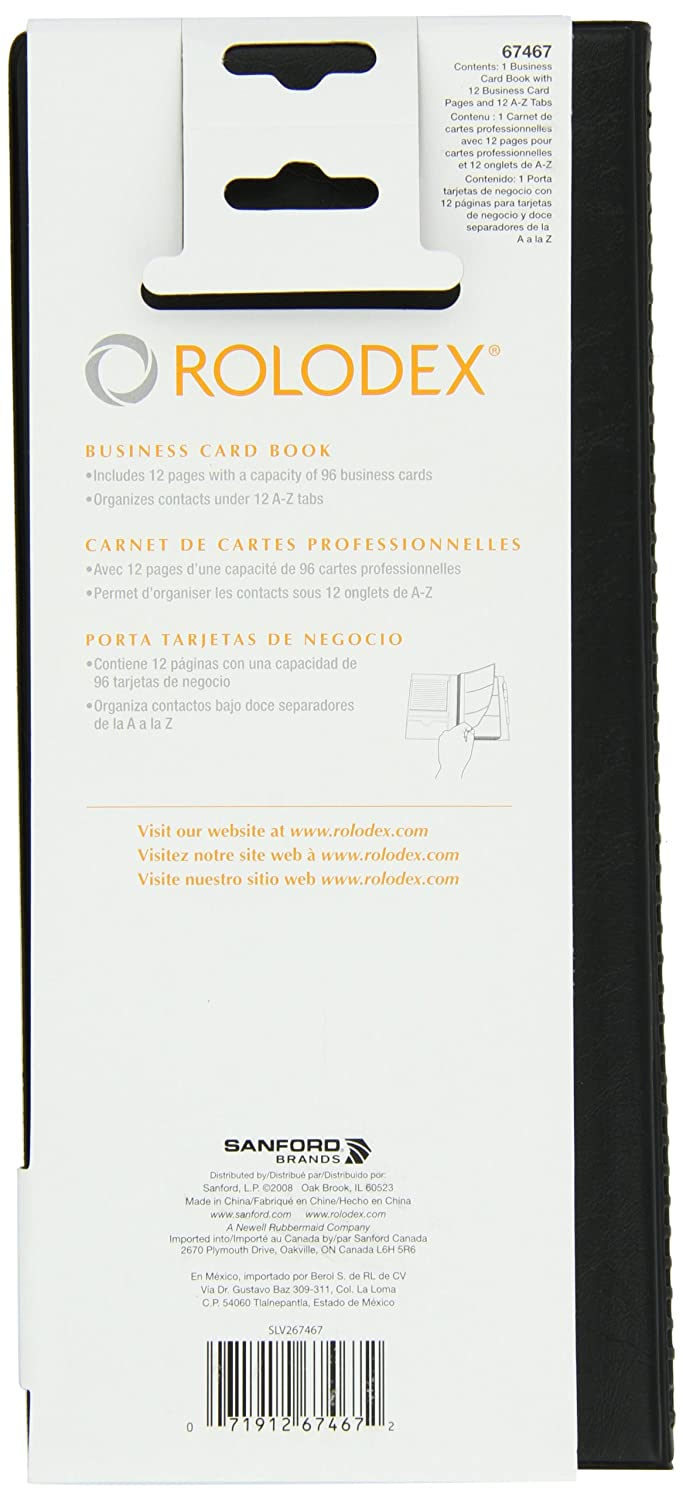 Amazon.com: Rolodex Vinyl Business Card Book with A-Z Tabs, Holds 96 ...