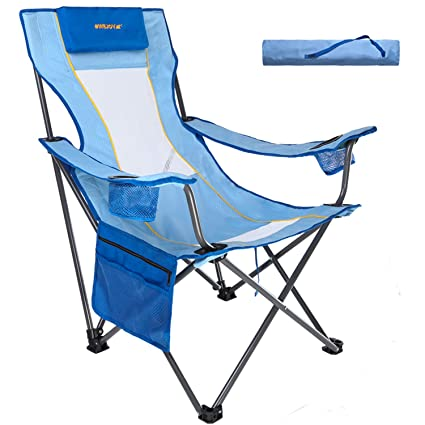 Prime Wejoy Lightweight Compact Portable Folding High Seat High Back Reclining Beach Chair With Pillow Cup Holder Pocket Mesh Back For Outdoor Camping Lawn Frankydiablos Diy Chair Ideas Frankydiabloscom