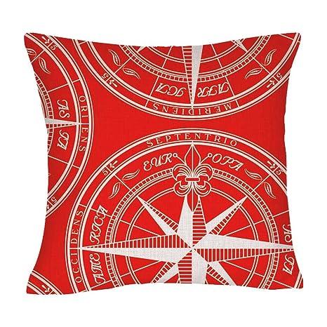 Amazon.com: Rojo brújula lino y algodón manta decorativa ...