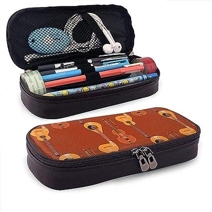 Estuche de lápices lindo de cuero de guitarra musical de cuerda - Estuche de lápiz Organizador de papelería Bolsa de maquillaje, soporte perfecto: Amazon.es: Oficina y papelería