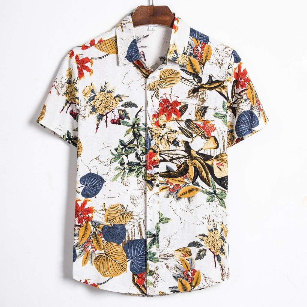 FossenHom Camisas de Hombre Manga Corta Casual Hawaianas Estampado - Camisas Hombre Baratas Fiesta, Camisetas Tops Hombres
