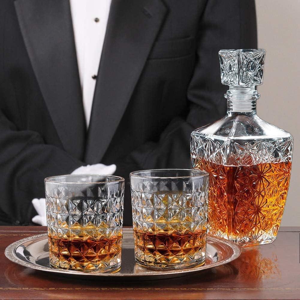Vodka Ou Whisky Fikujap Whisky Carafe Et Verre Set in Unique Gift Box Original Cristal Liquor Decanter Set pour Bourbon Scotch