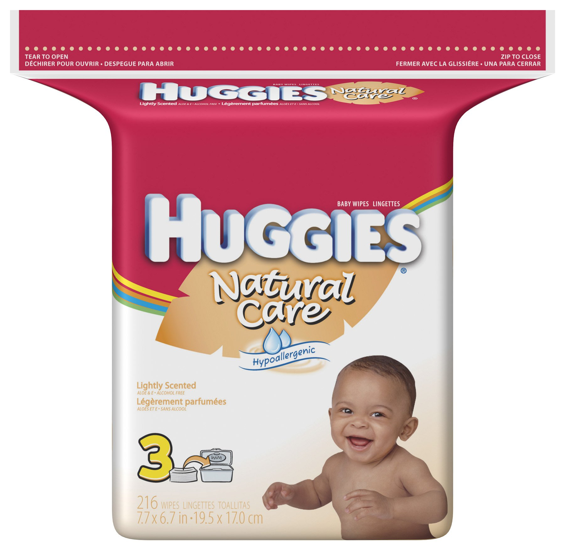 Huggies Natural Care Baby Wipes, Scented, Refill, 216-Count Pack (Pack of 3)=648 Wipes