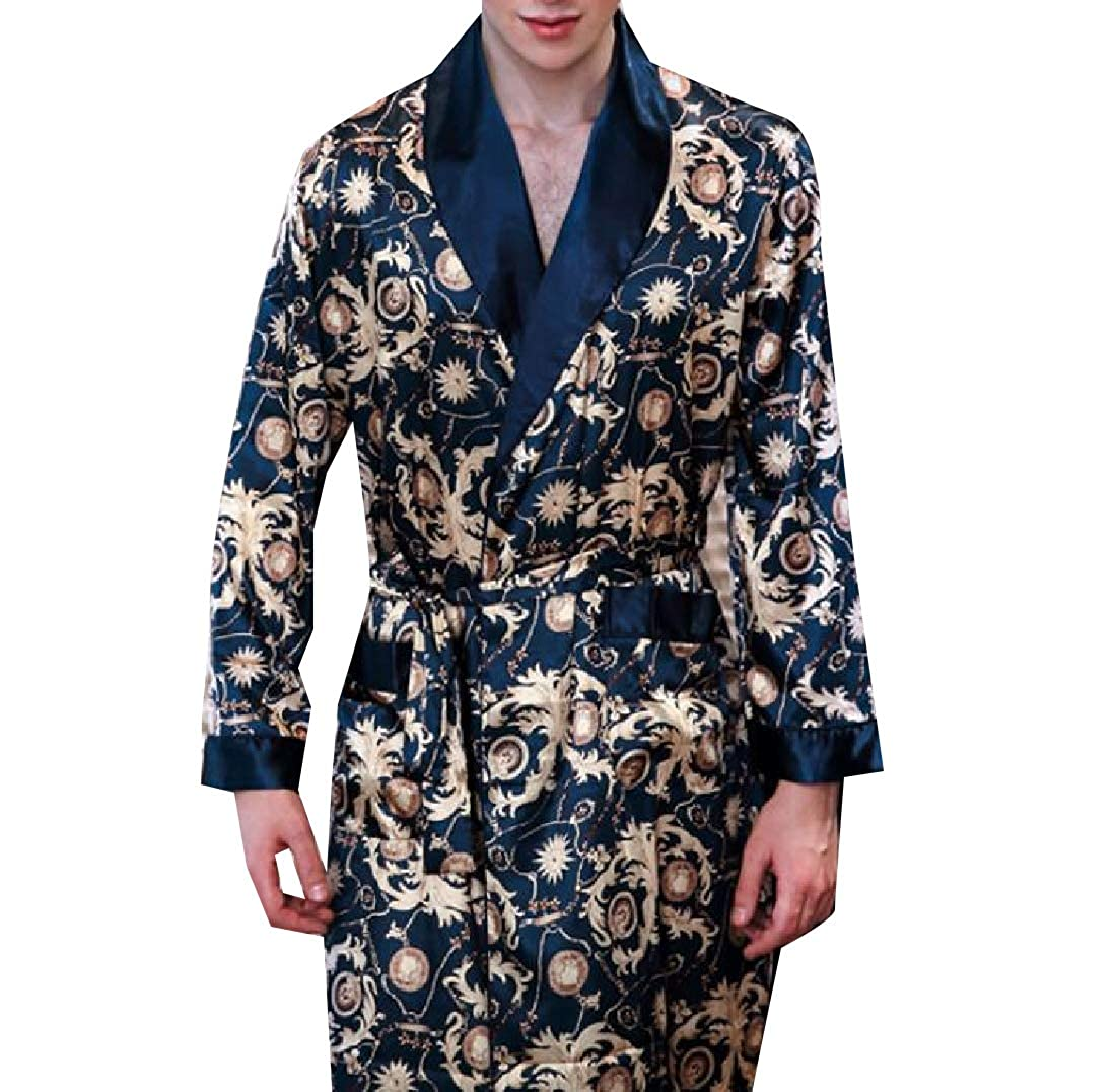 Andopa Men Bathrobe Long-Sleeve Charmeuse Luxurious Mid-Long Lounge Robe