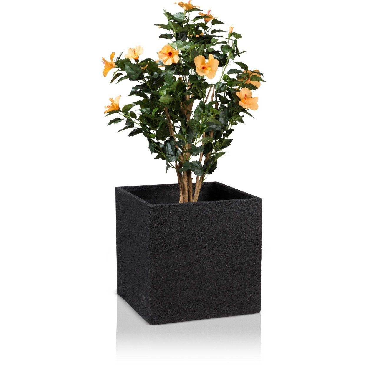 Blumenkübel Pflanzkübel CUBO 50 Fiberglas, 50x50x50 cm, schwarz ...
