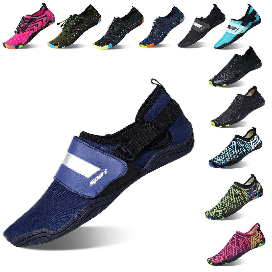 Lauwodun Womens and Mens Quick Dry Water Shoes Barefoot Aqua Sock Shoes for Beach Surfing Yoga Running Exercise-Blue-2-42