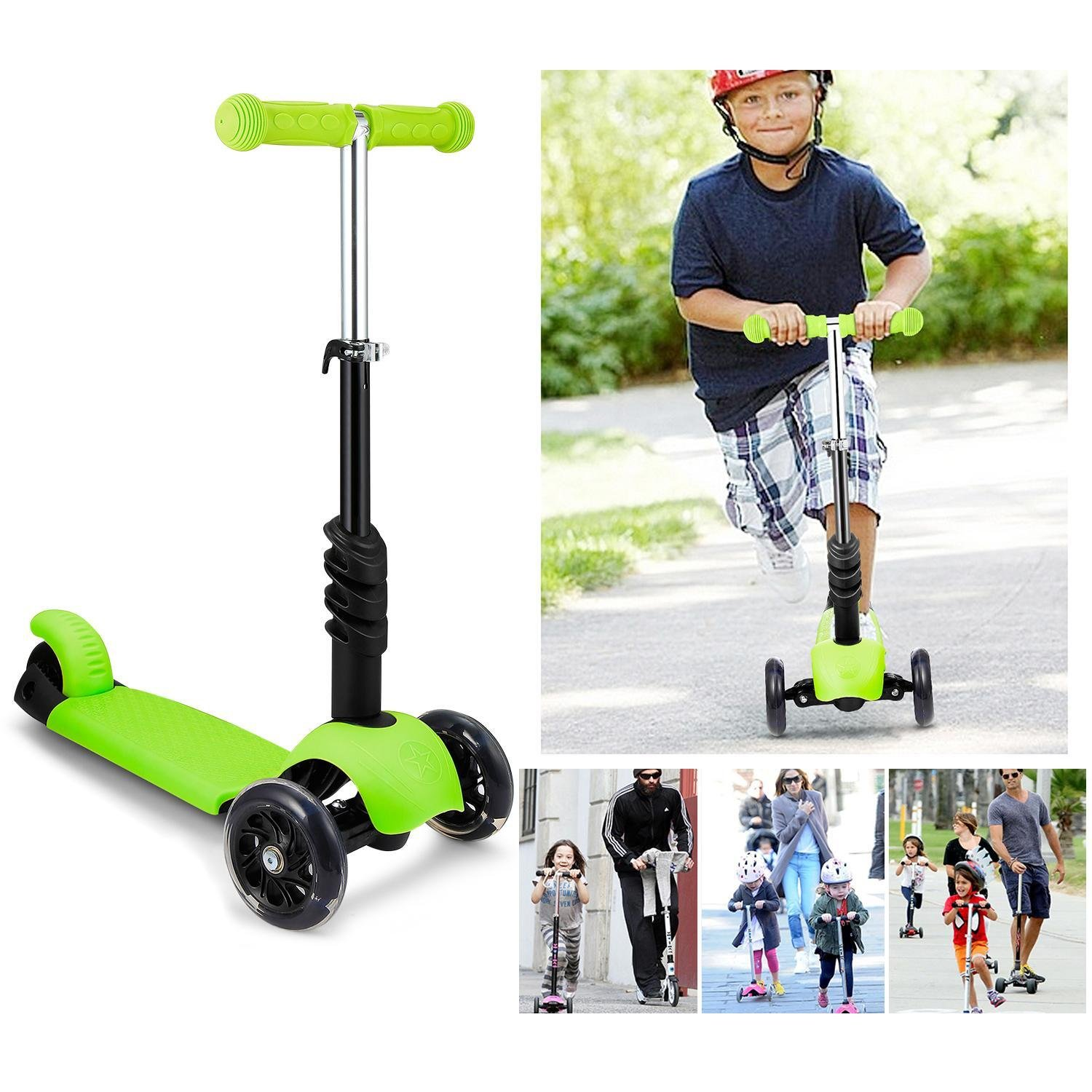 Meflying Child Kids 3-Wheel Mini Kick Toddler Scooter with Removable Seat, LED Flashing Wheels and Adjustable T-Handlebar (Age 3-8) (US STOCK)