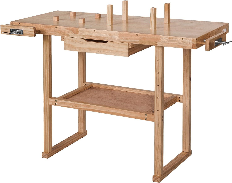 TecTake Banco de trabajo de madera con tornillos de banco - varios ...