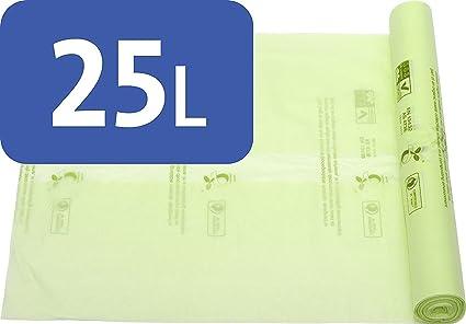 Bolsas de basura compostables Alina para alimentos y residuos biodegradables, 25litros, con