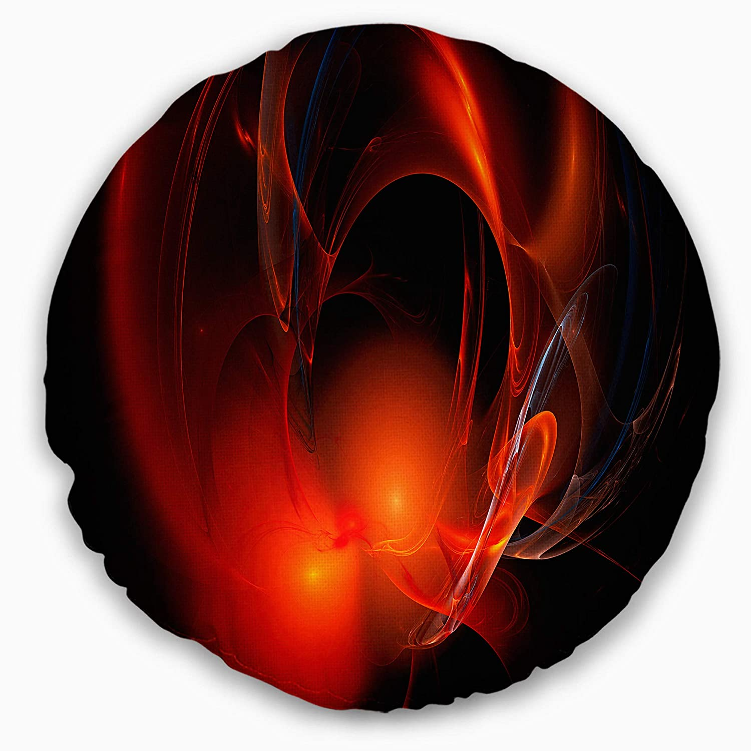 Designart CU16277-16-16-C Red Galactic Nebula on Black Abstract Round Cushion Cover for Living Room Insert Printed On Both Side Sofa Throw Pillow 16