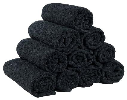 Juego 10 toallitas negras de rizo 100% algodón 50 x 100 cm