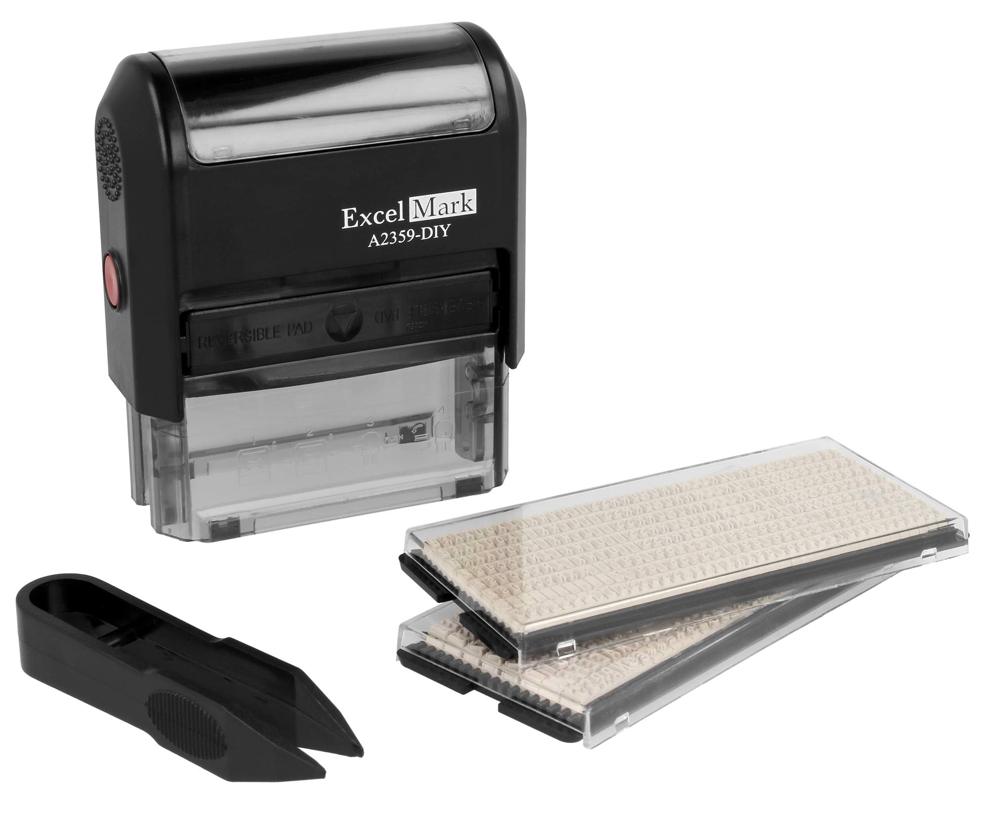 ExcelMark Self-Inking Do It Yourself Stamp Kit - A2359-DIY - Black Ink by ExcelMark