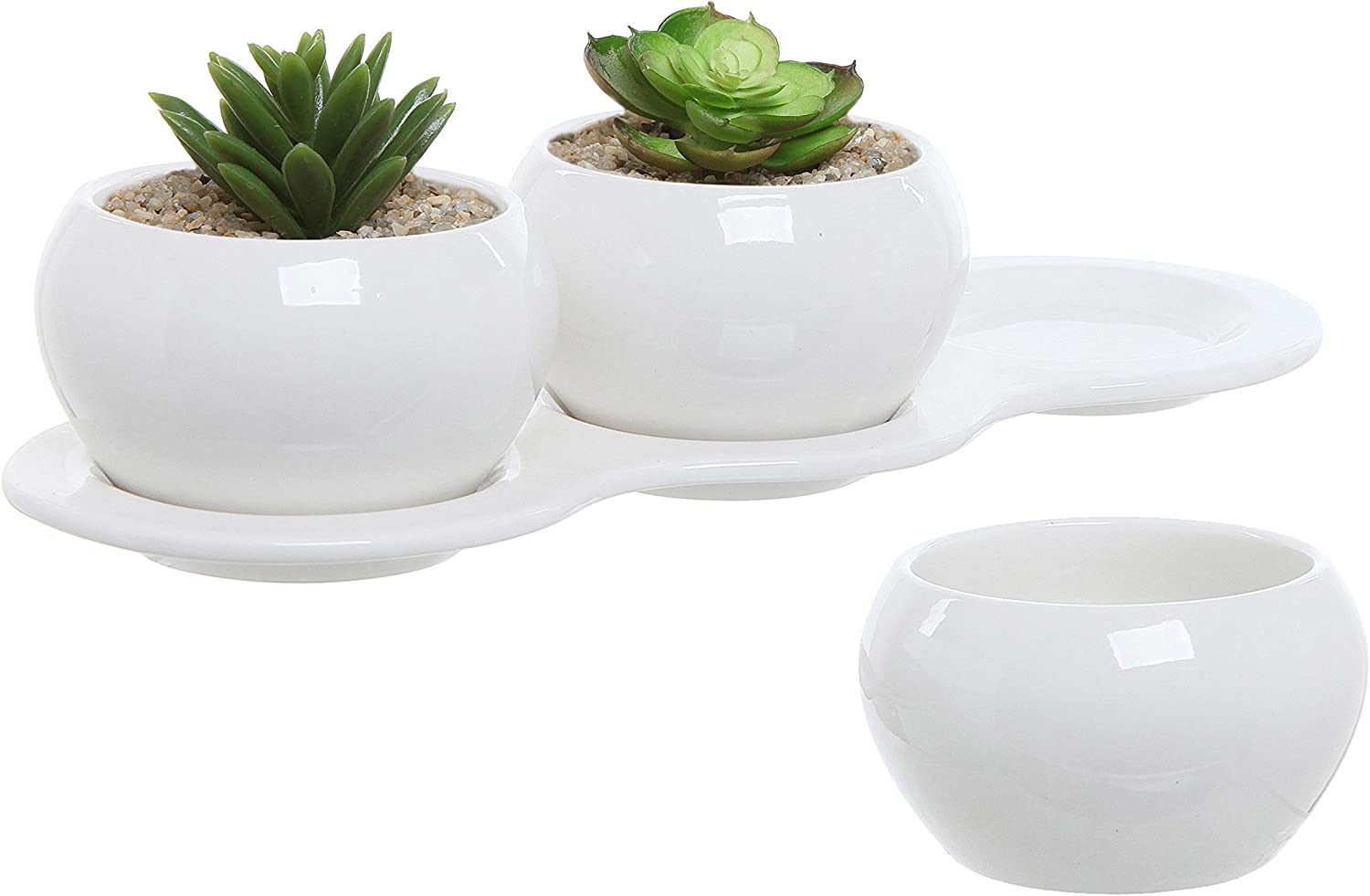 Mygift 4 Piece Small White Ceramic Planter Set Kitchen Herb Garden Plant Pots Collection With 3 Pots 1 Tray Garden Outdoor