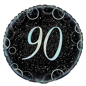 Unique Party Globo foil de 90 cumpleaños Color plateado ...
