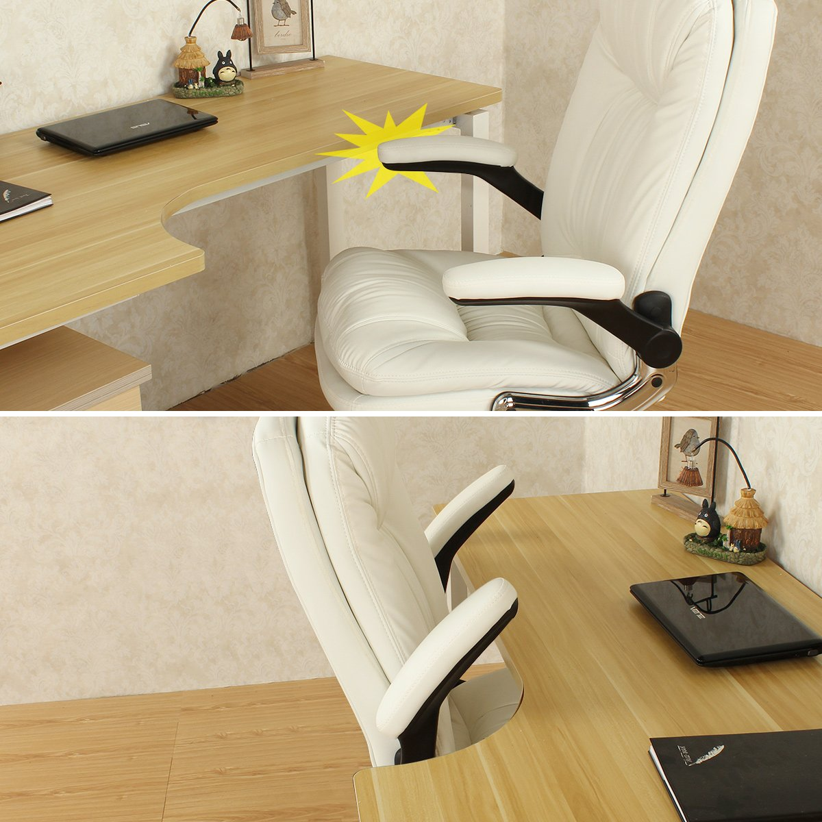 YAMASORO Ergonomic Office Chair with Flip-Up Arms and Comfy Headrest PU Leather High-Back Computer Desk Chair Big and Tall Capacity 330lbs White by YAMASORO (Image #4)