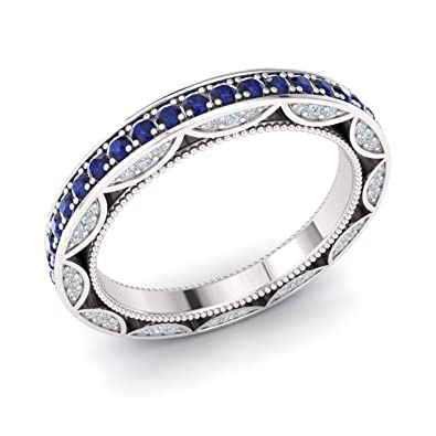 35ee39038045 Diamondere Natural and Certified Sapphire and Diamond Wedding Ring in 10K  White Gold