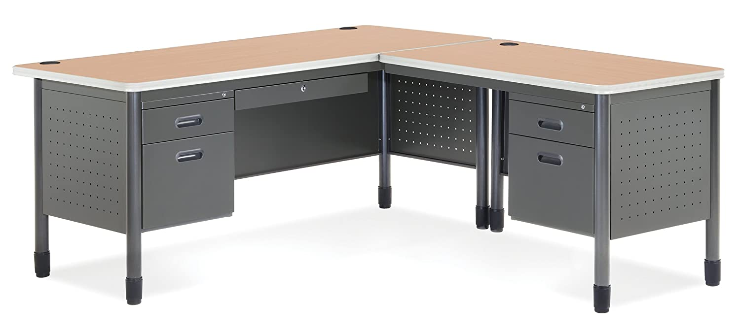 Amazon.com: OFM Mesa Series L Shaped Steel Office Desk With Laminate Top,  Left Pedestal Return And Maple Top   Durable Corner Utility Desk  (66366L MPL): ...