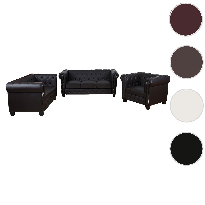Luxus 3-2-1 Sofagarnitur Couchgarnitur Loungesofa Chesterfield Kunstleder ~ eckige Füße, braun